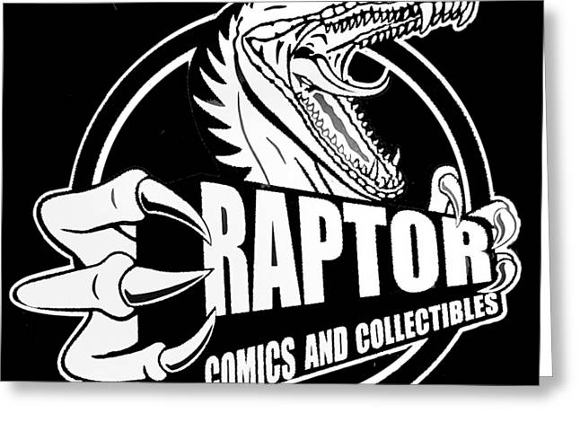 Raptor Comics Black Greeting Card