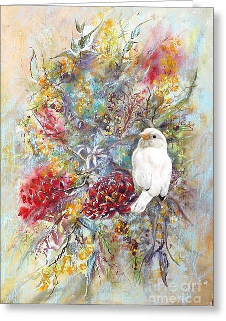 Rare White Sparrow - Portrait View. Greeting Card