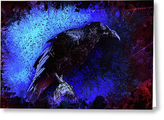 Greeting Card featuring the mixed media Raven by Al Matra