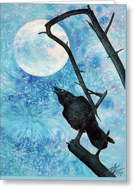Raven With Torrey Pine Branch And Cold Moon Greeting Card by Robin Street-Morris