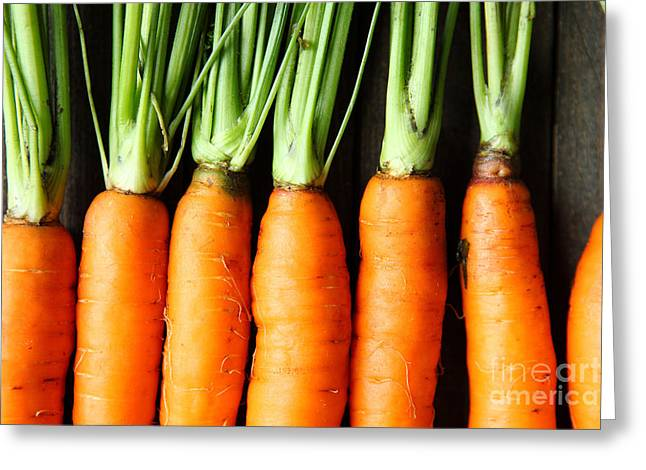 Raw Fresh Carrots With Tails, Top View Greeting Card