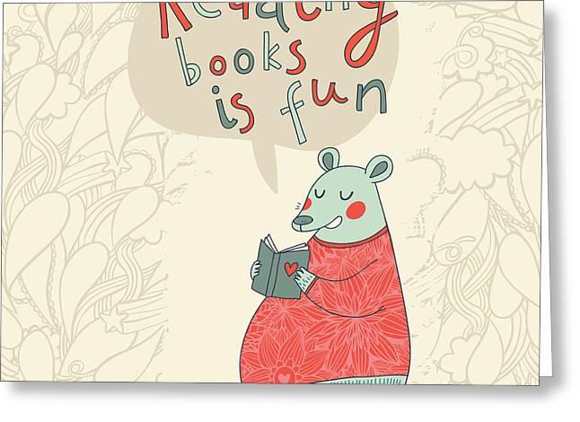 Reading Books Is Fun - Cartoon Stylish Greeting Card