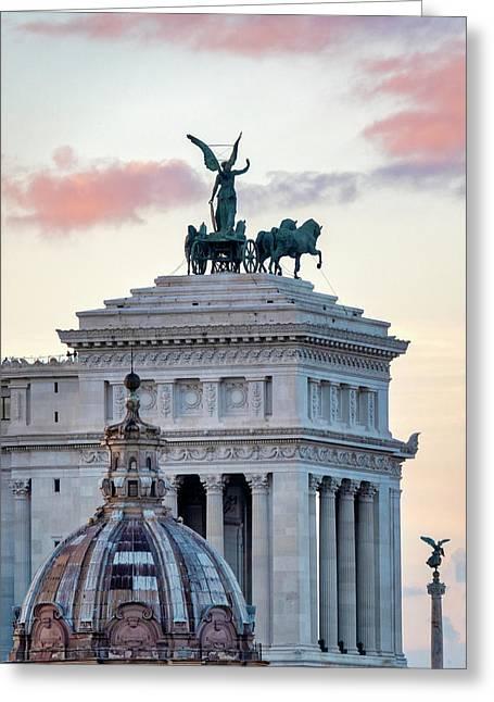 Greeting Card featuring the photograph Rear View Of The Altare Della Patria by Fabrizio Troiani
