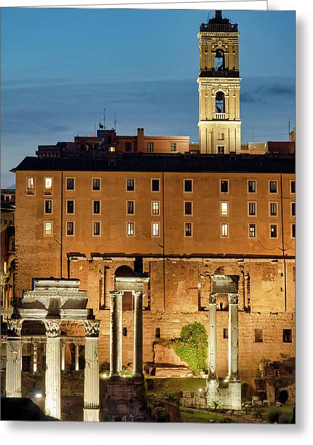 Greeting Card featuring the photograph Rear View Of The Campidoglio by Fabrizio Troiani