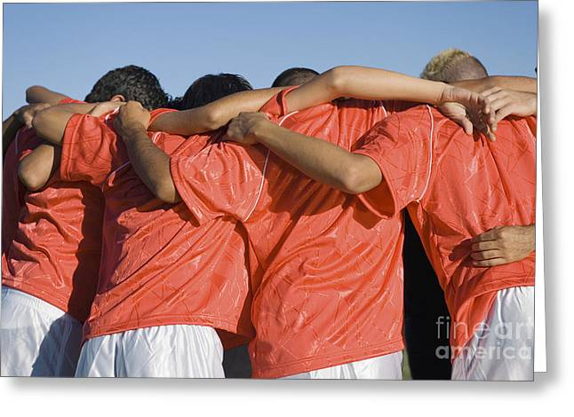 Rear View Of Young Soccer Players Greeting Card by Sirtravelalot
