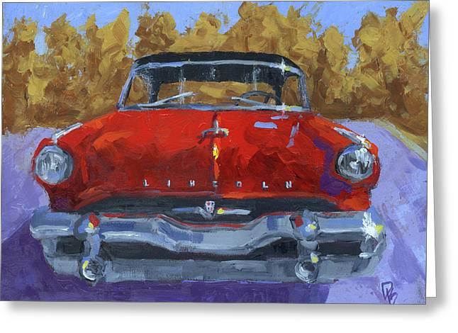 Red 1954 Lincoln Capri Greeting Card