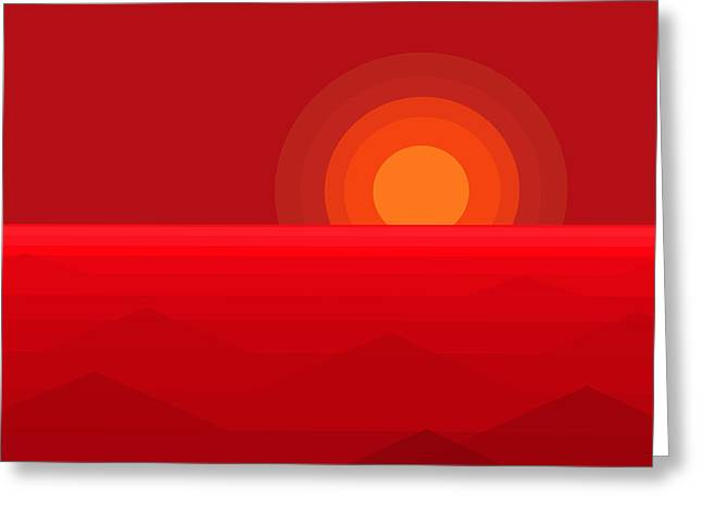 Red Abstract Sunset Greeting Card