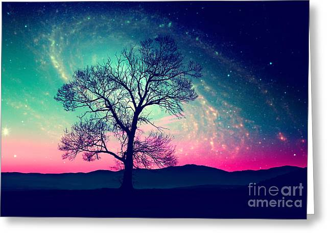 Red Alien Landscape With Alone Tree Greeting Card