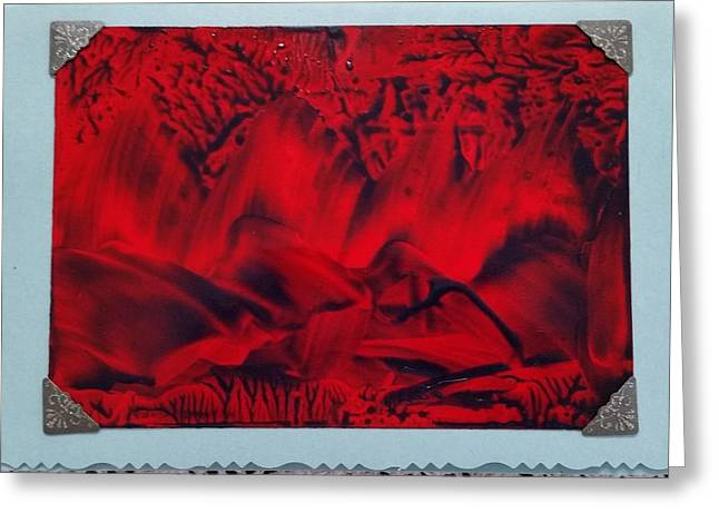 Red And Black Encaustic Abstract Greeting Card