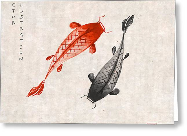 Red And Black Koi Carps Hand Drawn With Greeting Card