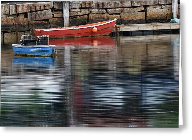 Red And Blue Row Boats On Rainy Day Greeting Card by Adam Jones