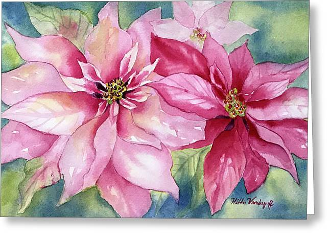 Red And Pink Poinsettias Greeting Card