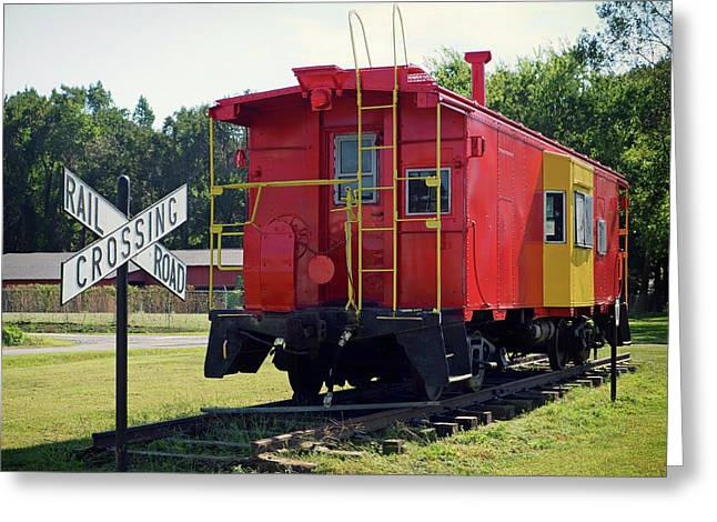 Greeting Card featuring the photograph Red And Yellow Caboose At Nassawadox by Bill Swartwout Fine Art Photography