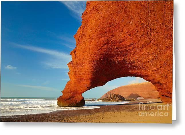 Red Archs On Atlantic Ocean Coast Greeting Card