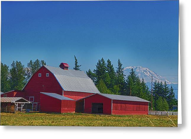 Red Barn With Mount Rainier Greeting Card