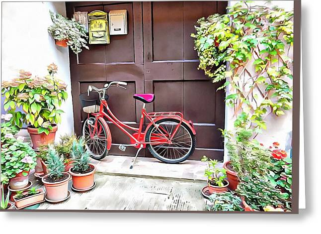 Greeting Card featuring the photograph Red Bicycle Pienza by Dorothy Berry-Lound
