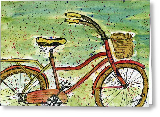 Red Bicycle Yellow Seat Greeting Card