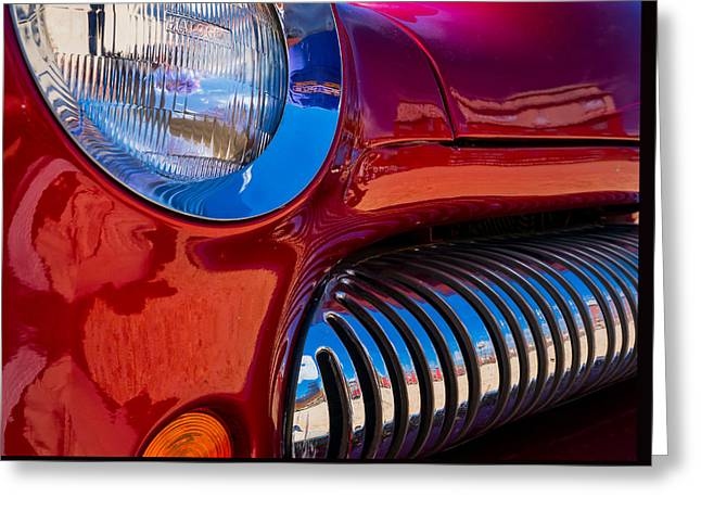 Red Car Chrome Grill Greeting Card