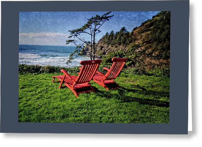 Red Chairs At Agate Beach Greeting Card