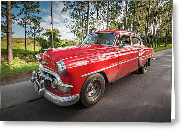 Red Classic Cuban Car Greeting Card