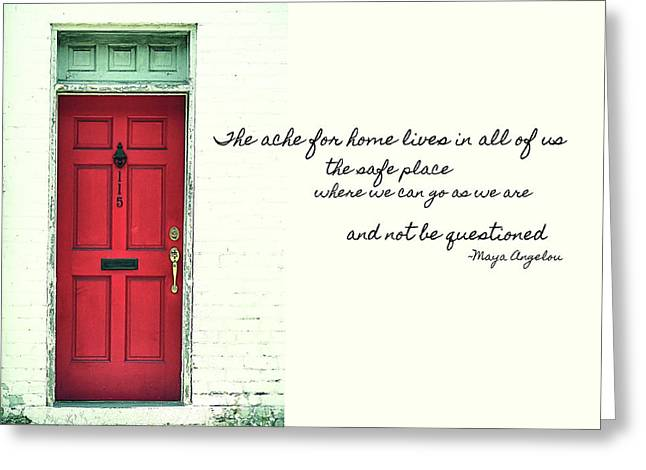 Greeting Card featuring the photograph Red Door Quote by JAMART Photography
