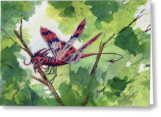 Greeting Card featuring the painting Red Dragonfly by Sam Sidders