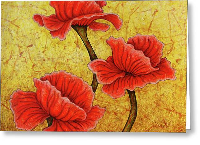 Greeting Card featuring the painting Red Enchantment by Amy E Fraser