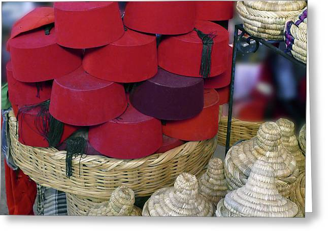 Red Fez Tarbouche And White Wicker Tagine Cookers Greeting Card