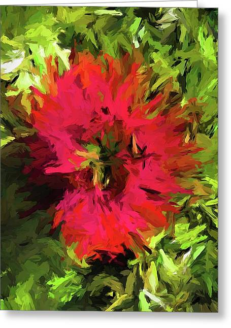 Red Flower Flames Greeting Card