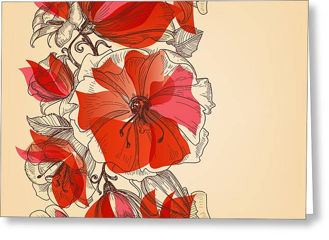 Red Flowers Seamless Pattern In Retro Greeting Card