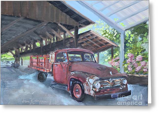 Greeting Card featuring the painting Red Ford And Pink Flowers by Jan Dappen