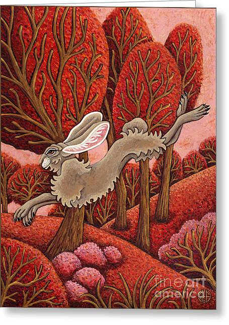 Red Forest Run Greeting Card