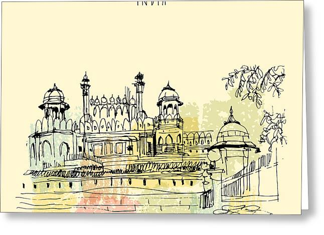 Red Fort In Delhi, India. Vintage Hand Greeting Card