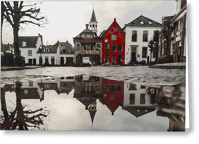 Greeting Card featuring the digital art Red House With Reflection by Shelli Fitzpatrick