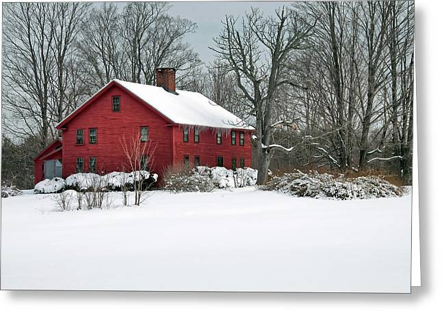 Red New England Colonial In Winter Greeting Card