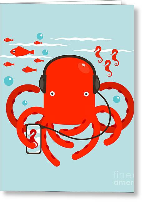 Red Octopus Listening To Smartphone Greeting Card