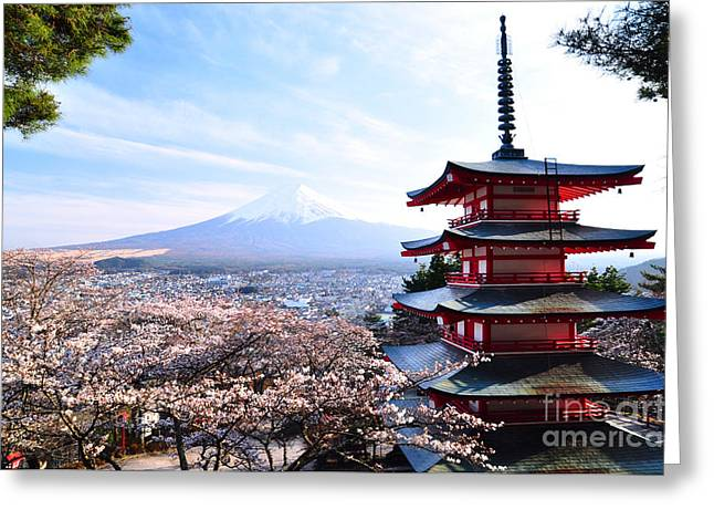 Red Pagoda With Mt. Fuji As The Greeting Card