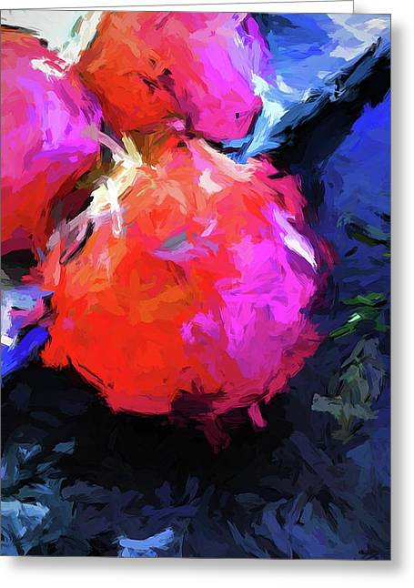 Red Pomegranate In The Blue Light Greeting Card
