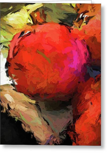Red Pomegranate In The Yellow Light Greeting Card