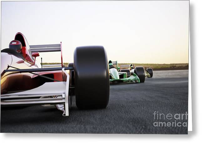 Red Race Car Close Up Front View On A Greeting Card