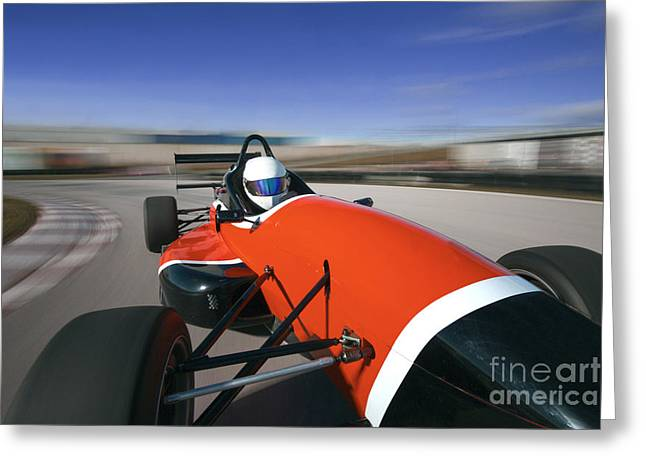 Red Racing Car Driving At High Speed In Greeting Card