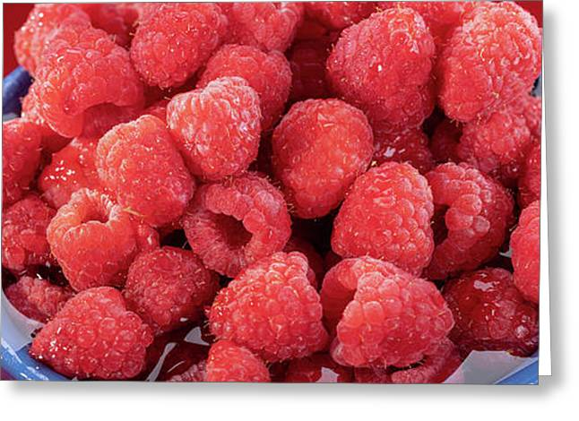 Red Raspberries In A Bowl Greeting Card