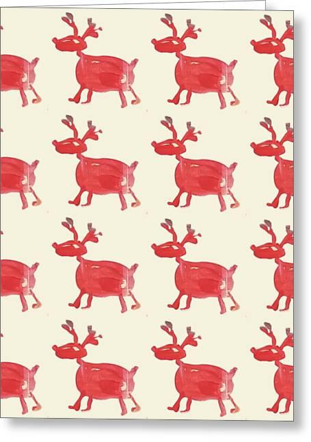 Red Reindeer Pattern Greeting Card