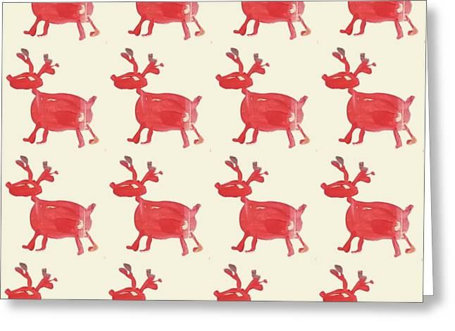 Greeting Card featuring the painting Red Reindeer Pattern by Maria Langgle