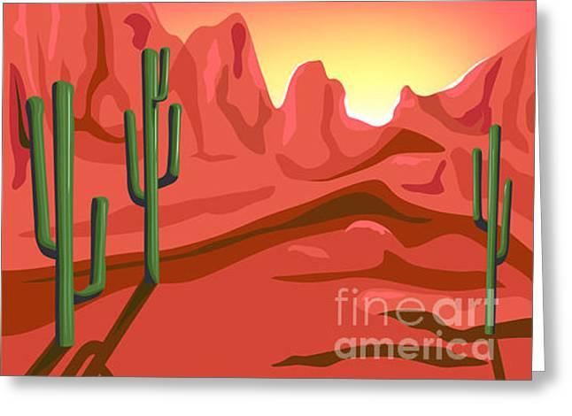 Red Rock Is Hand Drawn Original Artwork Greeting Card