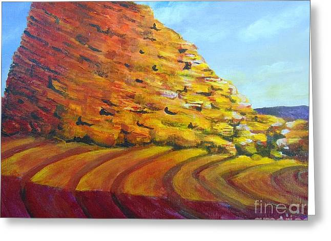 Greeting Card featuring the painting Red Rocks by Saundra Johnson