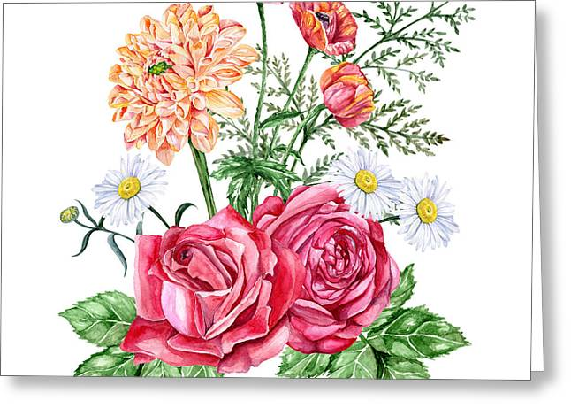 Red Roses, Orange Dahlias, Poppies And Greeting Card