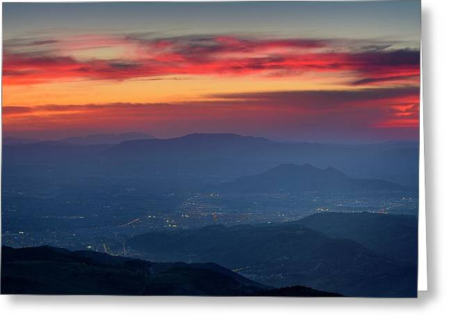 Red Sunset From The Mountains.  Greeting Card