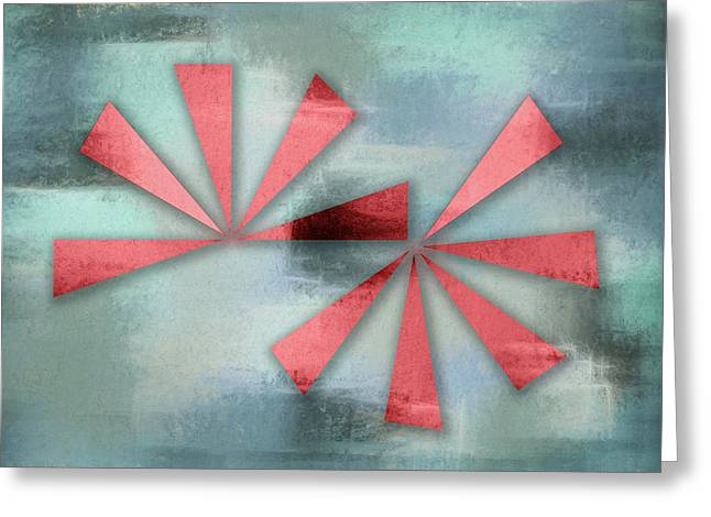 Red Triangles On Blue Grey Backdrop Greeting Card