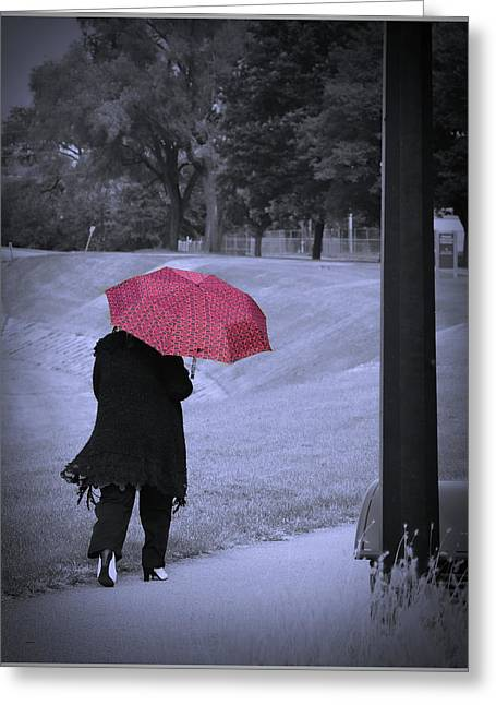 Red Umbrella Greeting Card
